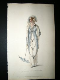 Ackermann 1810 Hand Col Regency Fashion Print. Promenade or Opera Dress 3-32